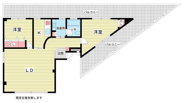 物件番号: 1025800315 第6スカイマンション  神戸市中央区山本通2丁目 2LDK マンション 間取り図