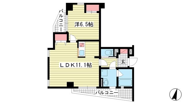 物件番号: 1025801512 BLMY.115  神戸市中央区中山手通7丁目 1LDK マンション 間取り図