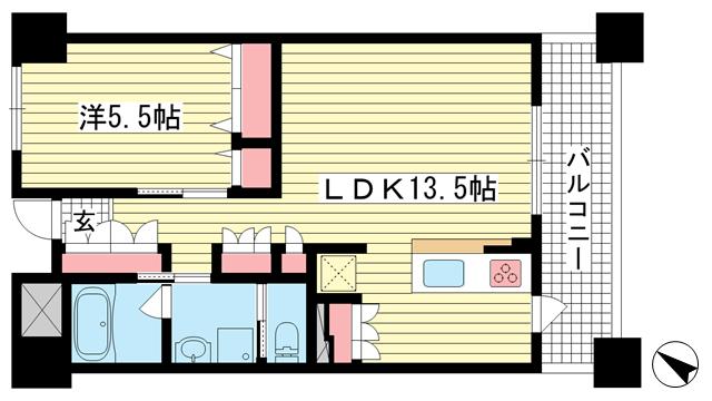 物件番号: 1025801811 アーバネックス神戸駅前  神戸市中央区相生町5丁目 1LDK マンション 間取り図