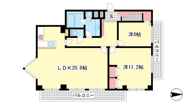 物件番号: 1025802367 グランドール熊内  神戸市中央区熊内町1丁目 2LDK マンション 間取り図