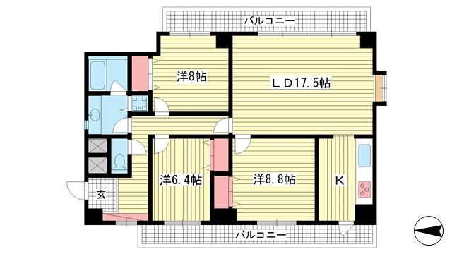 物件番号: 1025802370 グランドール熊内  神戸市中央区熊内町1丁目 3LDK マンション 間取り図