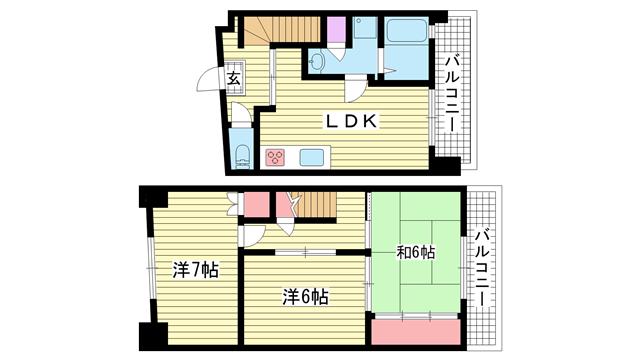 物件番号: 1025802795 サザン神戸品川  神戸市中央区相生町4丁目 3LDK マンション 間取り図