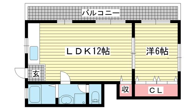 物件番号: 1025804246 エクセル神戸  神戸市中央区熊内町8丁目 1LDK マンション 間取り図