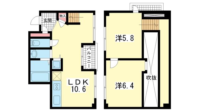 物件番号: 1025804340 オーズハイツ新神戸  神戸市中央区生田町4丁目 1LDK マンション 間取り図