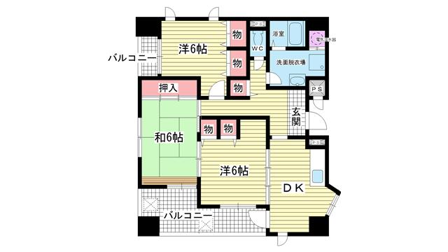 物件番号: 1025804425 メインステージ兵庫  神戸市兵庫区新開地4丁目 3DK マンション 間取り図