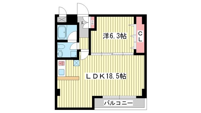 物件番号: 1025804663 上春日野ハイツ  神戸市中央区神仙寺通4丁目 1LDK マンション 間取り図
