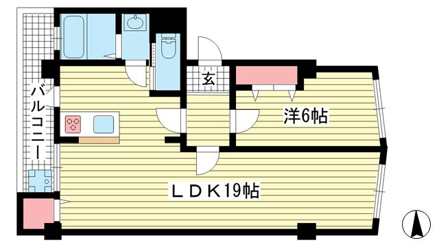 物件番号: 1025804815 幸和マンション  神戸市中央区加納町2丁目 1LDK マンション 間取り図