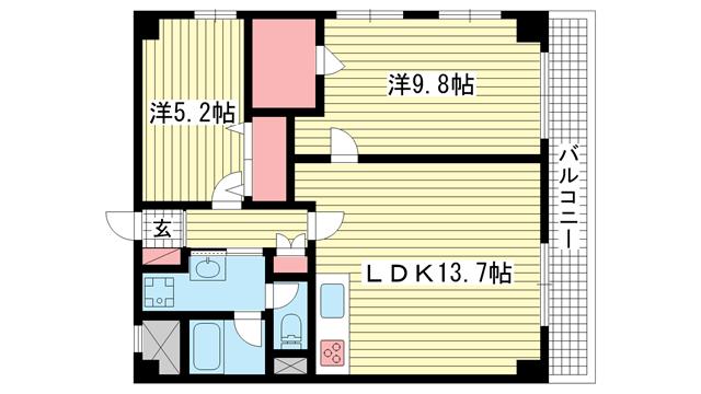 物件番号: 1025805859 グランドメゾン中山手  神戸市中央区中山手通4丁目 2LDK マンション 間取り図