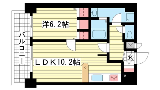 物件番号: 1025805876 プレサンス神戸駅前  神戸市中央区古湊通1丁目 1LDK マンション 間取り図