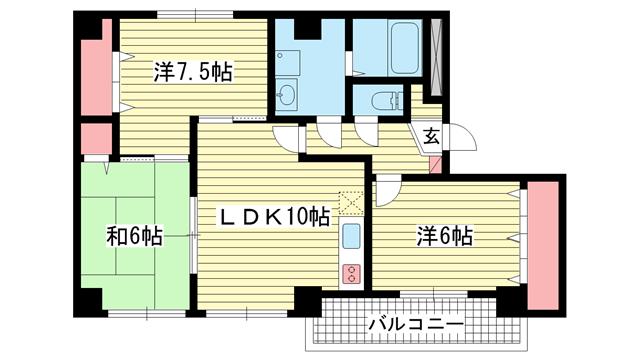 物件番号: 1025806124 グランシャリオ山手田邉  神戸市中央区下山手通6丁目 3LDK マンション 間取り図