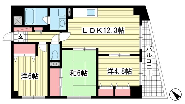 物件番号: 1025806541 アルカディア山の手  神戸市中央区山本通5丁目 3LDK マンション 間取り図