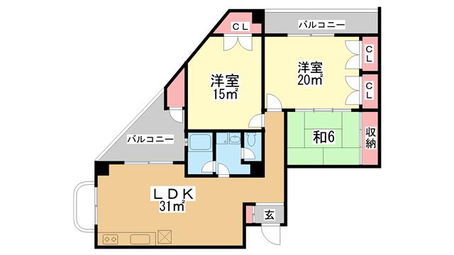 物件番号: 1025806810 北野タウンハウス  神戸市中央区山本通3丁目 3LDK マンション 間取り図