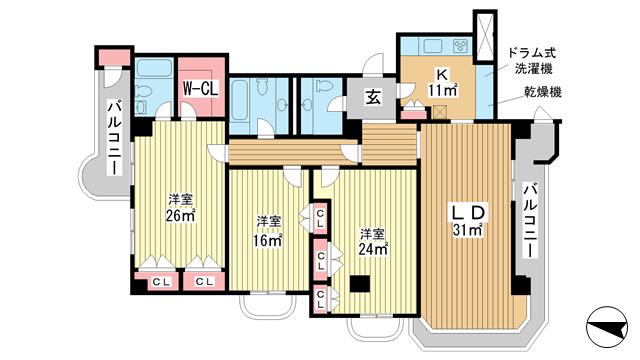 物件番号: 1025806811 北野タウンハウス  神戸市中央区山本通3丁目 3LDK マンション 間取り図
