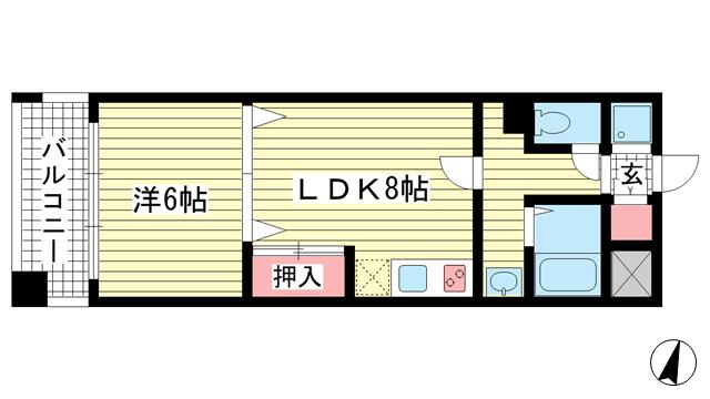 物件番号: 1025806904 富士産業ビル  神戸市中央区中山手通1丁目 1LDK マンション 間取り図