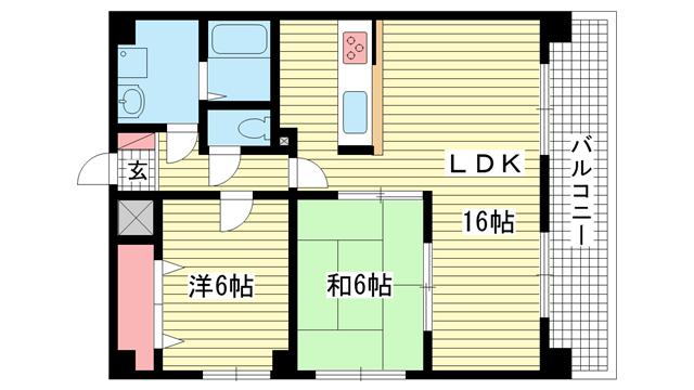 物件番号: 1025807257 スタッツァ多聞  神戸市中央区多聞通5丁目 2LDK マンション 間取り図