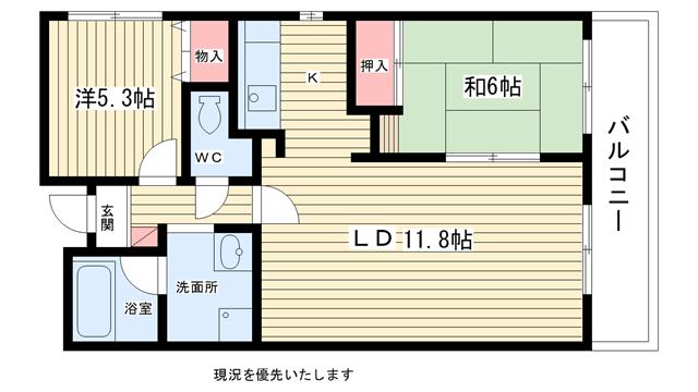 物件番号: 1025808830 ボヌール御影  神戸市東灘区御影本町2丁目 2LDK マンション 間取り図