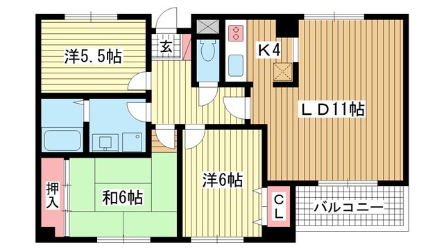 物件番号: 1025808950 Belltree若草ANNEX  神戸市須磨区車字潰ノ下 3LDK マンション 間取り図