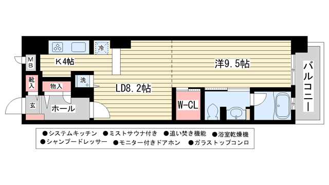 物件番号: 1025808966 オーチャードアレー山手通  神戸市中央区中山手通1丁目 1LDK マンション 間取り図
