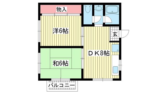 物件番号: 1025809019 フレンドハイツ  神戸市中央区日暮通6丁目 2DK ハイツ 間取り図