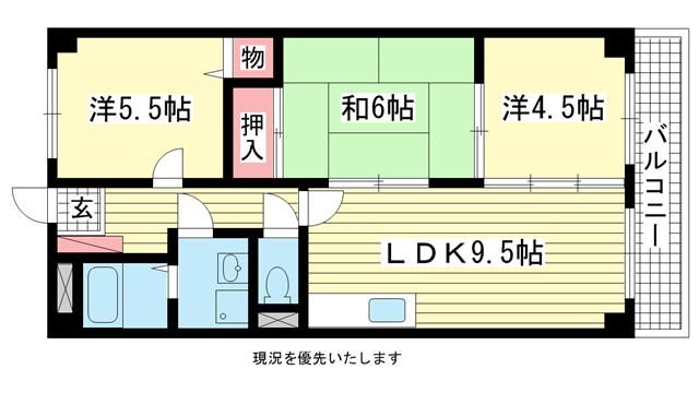 物件番号: 1025809708 ベルコート相楽園  神戸市中央区山本通5丁目 3LDK マンション 間取り図