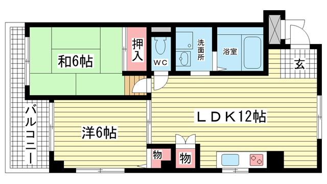 物件番号: 1025809829 ハイツ二井  神戸市兵庫区上沢通8丁目 2LDK マンション 間取り図
