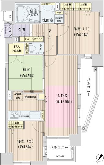 物件番号: 1025809978 メープル兵庫ラフィール  神戸市兵庫区兵庫町1丁目 2LDK マンション 間取り図