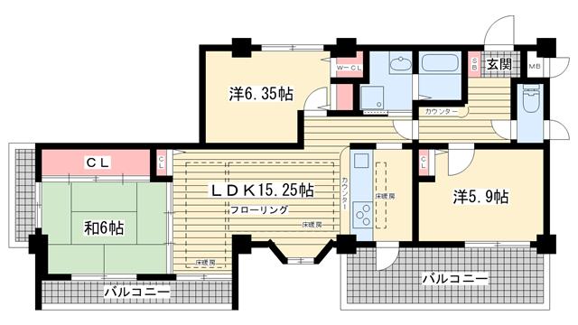 物件番号: 1025810056 ヴィルブランシェファーストステージ  神戸市北区緑町8丁目 3LDK マンション 間取り図