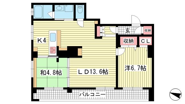 物件番号: 1025810061 ワコーレアルテ上筒井  神戸市中央区野崎通3丁目 2LDK マンション 間取り図