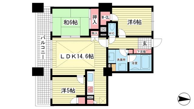 物件番号: 1025810499 ライオンズタワー神戸旧居留地  神戸市中央区伊藤町 3LDK マンション 間取り図