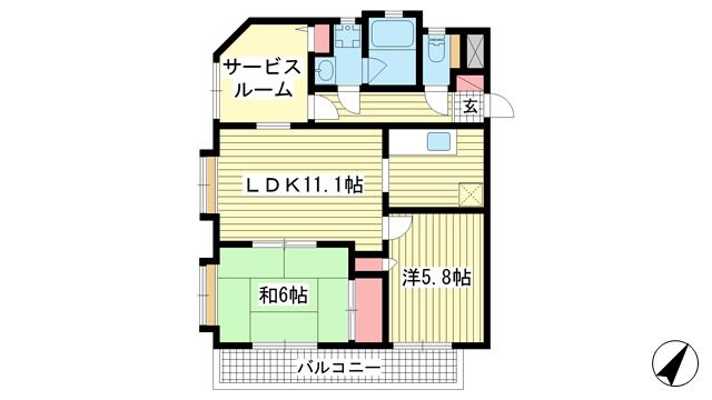 物件番号: 1025810817 エスポワール六甲道  神戸市灘区稗原町4丁目 2SLDK マンション 間取り図
