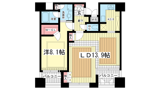 物件番号: 1025810893 ワコーレ山本通グランツィオ  神戸市中央区山本通2丁目 1LDK マンション 間取り図