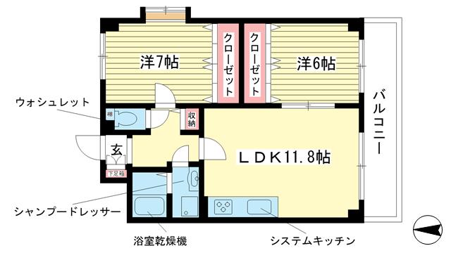 物件番号: 1025811445 マンションキシモトⅡ  神戸市中央区熊内町5丁目 2LDK マンション 間取り図