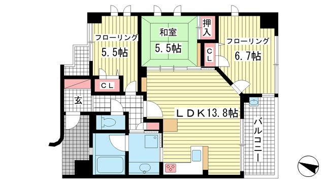 物件番号: 1025811448 KAISEI新神戸第2EAST  神戸市中央区布引町2丁目 3LDK マンション 間取り図