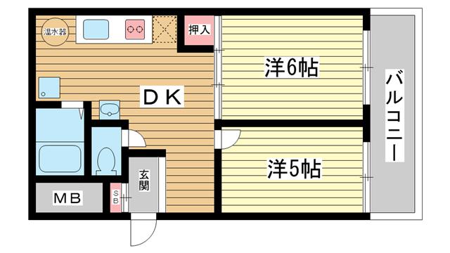 物件番号: 1025811517 花隈ダイヤハイツ  神戸市中央区花隈町 2DK マンション 間取り図