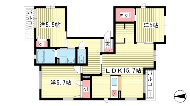 物件番号: 1025811932 シャーメゾンセレッソ・カーサ  神戸市中央区山本通1丁目 3LDK タウンハウス 間取り図