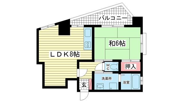 物件番号: 1025813041 ワコーレハーバーCITY元町  神戸市中央区元町通7丁目 1LDK マンション 間取り図