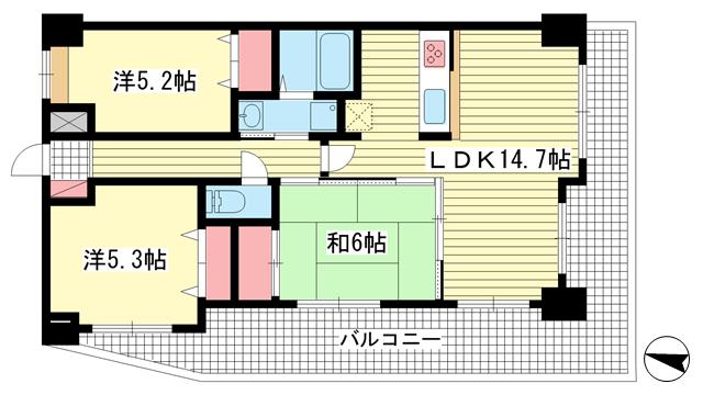 物件番号: 1025814925 アーバンヴィレッジ神戸中央  神戸市中央区楠町6丁目 3LDK マンション 間取り図