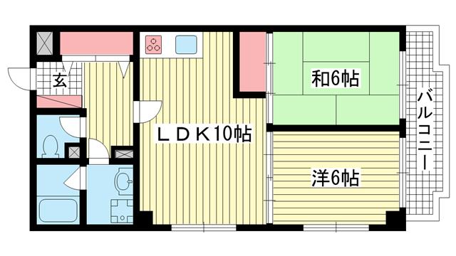 物件番号: 1025814933 ウエストコート1番館  神戸市兵庫区塚本通8丁目 2LDK マンション 間取り図