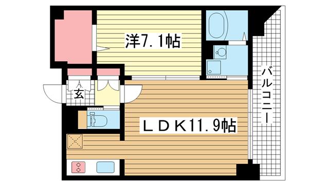 物件番号: 1025815809 レジディア神戸元町  神戸市中央区栄町通4丁目 1LDK マンション 間取り図