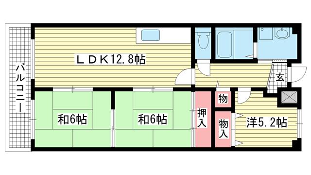 物件番号: 1025815969 サンハイツ東山  神戸市兵庫区東山町1丁目 3LDK マンション 間取り図