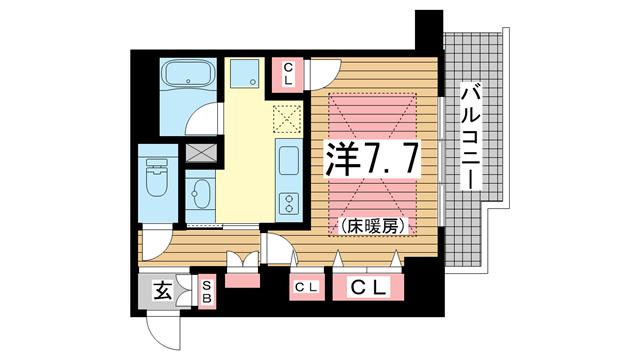 物件番号: 1025816749 ワコーレ元町セリュックス  神戸市中央区花隈町 1K マンション 間取り図