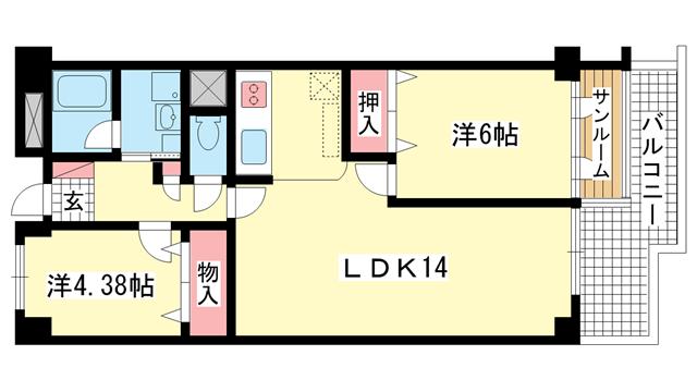 物件番号: 1025816873 ジークレフ赤坂  神戸市灘区赤坂通8丁目 2LDK マンション 間取り図