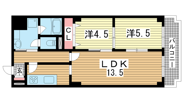 物件番号: 1025817633 グランドビスタ北野  神戸市中央区加納町2丁目 2LDK マンション 間取り図