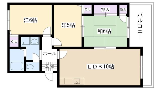 物件番号: 1025817970 リオ谷上  神戸市北区谷上東町 3LDK マンション 間取り図