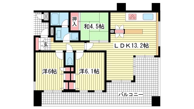 物件番号: 1025818355 プレステージ新神戸サザンプレイス  神戸市中央区二宮町1丁目 3LDK マンション 間取り図