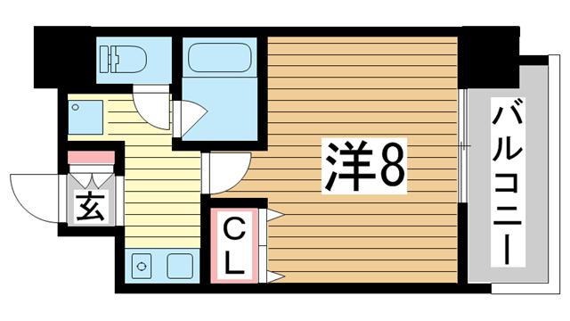 物件番号: 1025818375 ラナップスクエア三宮プライム  神戸市中央区雲井通3丁目 1K マンション 間取り図