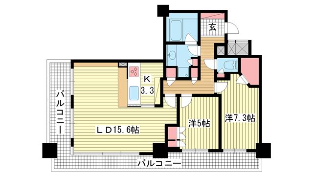 物件番号: 1025818514 ライオンズタワー神戸旧居留地  神戸市中央区伊藤町 2LDK マンション 間取り図