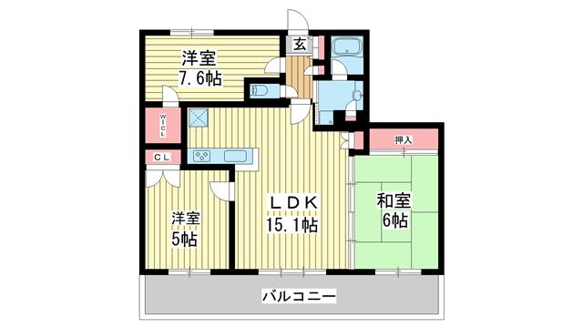 物件番号: 1025818515 ライオンズタワー神戸旧居留地  神戸市中央区伊藤町 3LDK マンション 間取り図