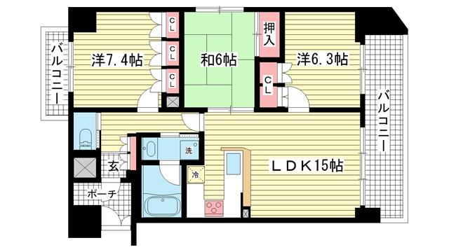 物件番号: 1025818553 リーガル神戸下山手  神戸市中央区下山手通3丁目 3LDK マンション 間取り図
