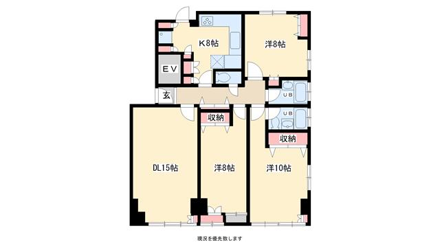 物件番号: 1025818976 サドワニマンション  神戸市中央区北野町1丁目 3LDK マンション 間取り図